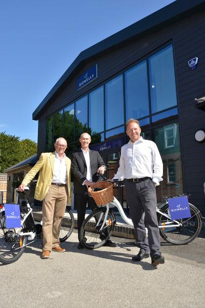 Bidwells adopts electric bikes, with Sean Moroney of Cambridge Electric Transport, and Rob Hopwood Bidwells