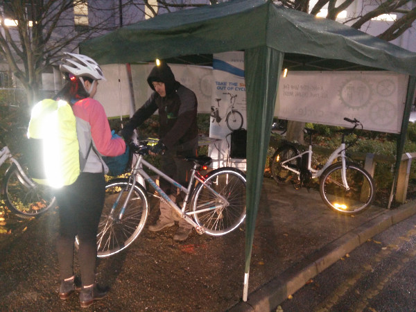 Winter safety check day at Addenbrookes: Cambridge Electric Transport Cycle Hub.