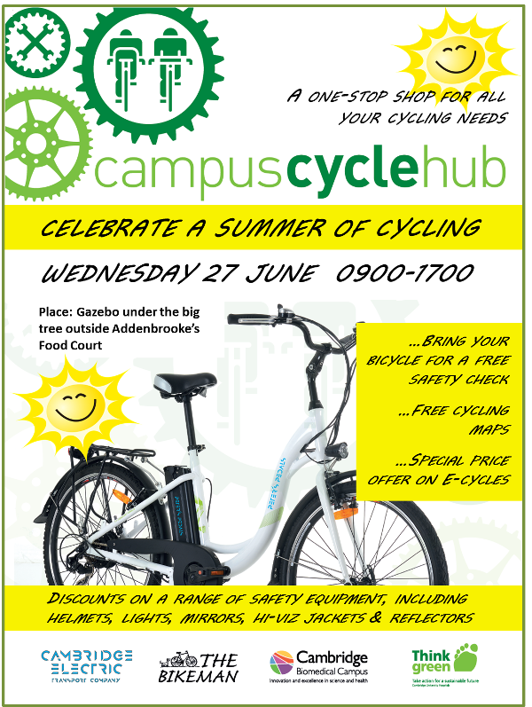 Celebrate Summer Campus Cycle Hub Wed 27th June: Discounts on a range of safety equipment, including helmets, lights, mirrors. and reflectors.