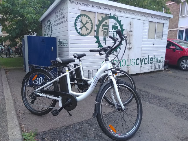 Campus Cycle Hub: hire your electric bike for business meeting here.