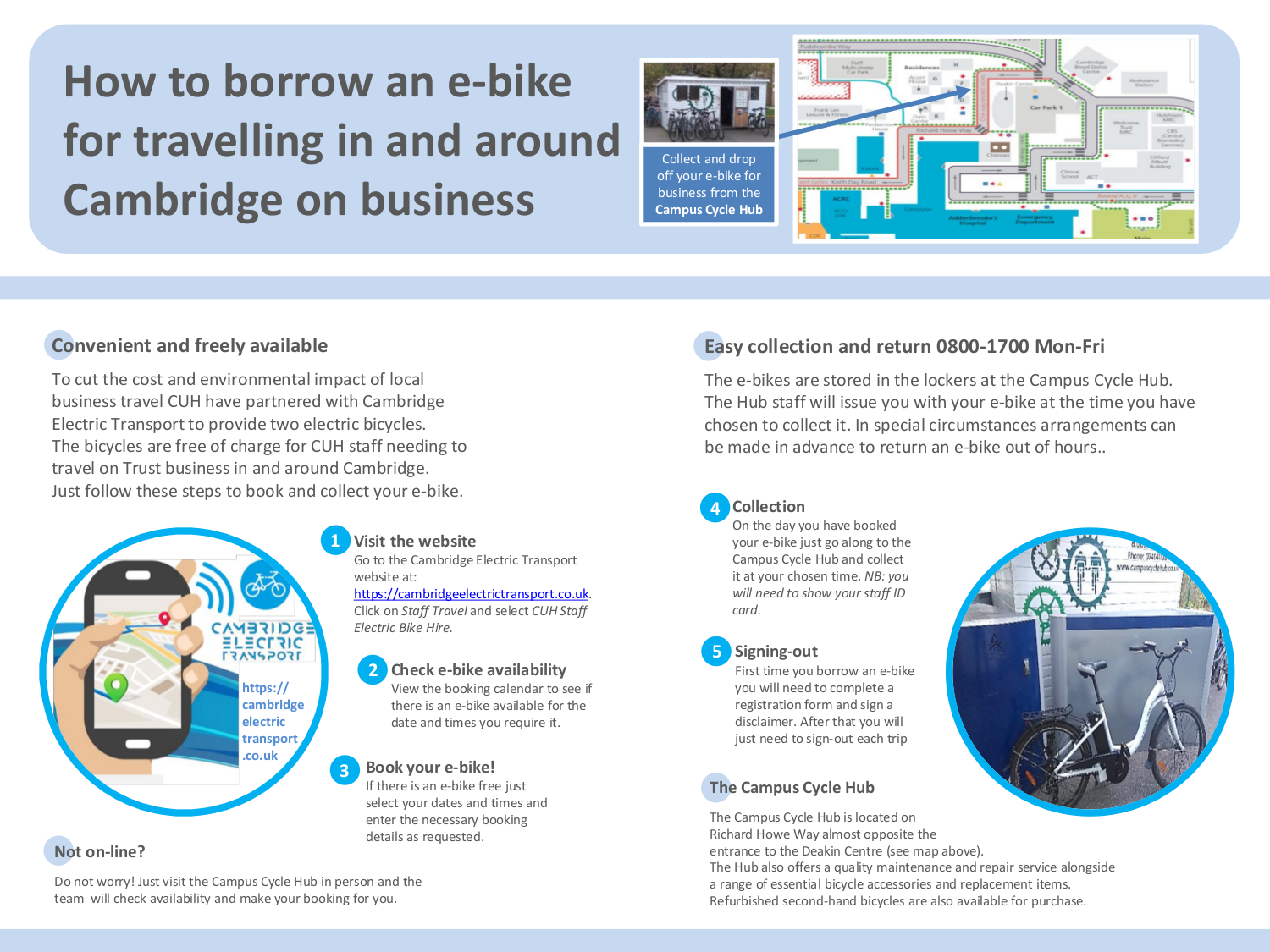 Hire electric bikes to commute to business meetings from Cambridge University Hospital (Addenbrookes Cycle Hub), a Cambridge Electric Transport partner.