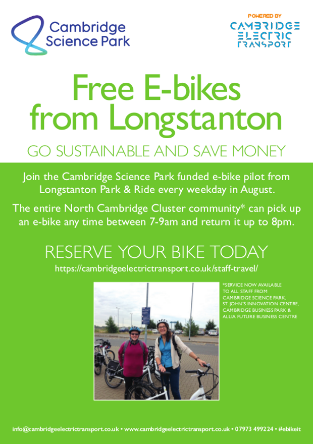 Free electric bikes to hire from Longstanton to Cambridge Science Park. Science Park employees can pick up an electric bike any time between 7 to 9am, and return it between 4pm and 7pm.