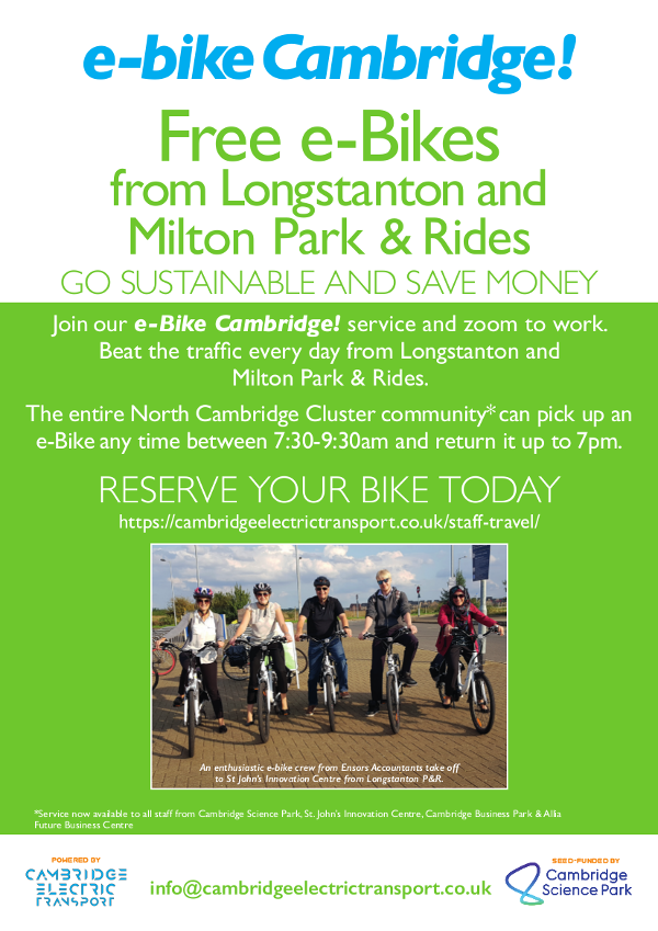 For Cambridge North Cluster, Free electric bikes from longstanton and milton park and ride